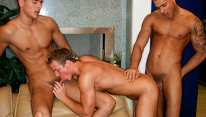 These 4 studs all take turns on the sweet junior blond guy!