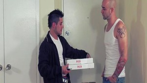 This pizza lover is carrying around a big pepperoni, but little did he know the huge spicy sausage he was about to get! dong meets large schlong as our pizza man goes bottom to take a little extra schlong!