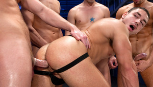 All 4 males take turns plowing Marc Dylan's eager anus