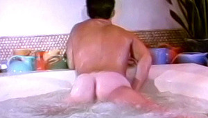 Watching a lover masturbating by the pool, a gay guy jerks off