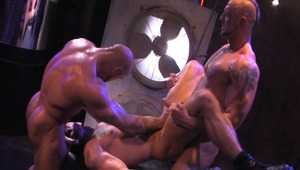 These horny and hairy men are having sex in industrial set