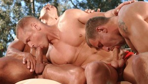 hung horndogs take turns servicing each other, blowing rod!