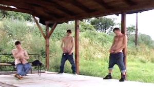 four hot studs jerk off together until they shoot huge loads