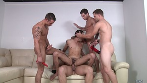 It's a sex toy party for men! Landon Stone brings the toys and things get out of hand when he gives a demonstration.  Cooper Reed, Jimmy Johnson, Marcus Ruhl & Vance Stone get their dicks sucked while fucking Landon's tight ass. The scene also features so