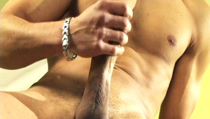 Hot lover showing his hot muscles and jerking his penis off