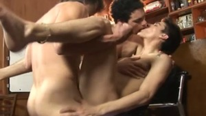 Check it out as they make out, then strip naked before taking turns blowing each others' rods for your viewing pleasure.
