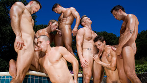 Six lovely dudes are all working Cody's pole and each other's.