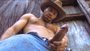 horny cowboy with hot body and uncut dong jerks off by barn