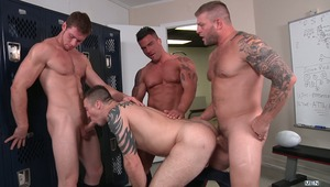After fucking a couple guys on the rugby team, Coach Colby Jansen decides he might as well come out to everyone. The news is well received and 3 players join Colby for a locker room orgy. Connor Kline gets banged by Braden Charron, Connor Maguire and the
