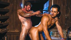 horny tattooed lover fucking Latino hunk's tight butthole