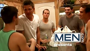 The MEN.com boys all think Johnny Rapid is adorable and can't wait to fuck his brains out. After a little prank, it didn't take much to get Johnny on his knees to blow each one of the boys and get gang banged.