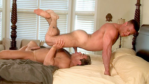Gay lovers sucking and fucking with passion on their bed!