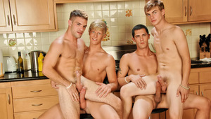 These 4 boys are all naked & ready to fuck each other's buns