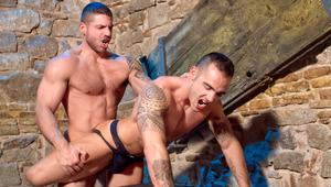 Axel grabs his prey, Adrian, in a dark corner at a sex club