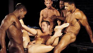 3 studly black men take turns using Tristian's hole !