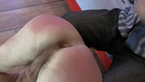 Adorable gay lover is cringing with biting pain as his 2 masters spank on his chaste bottoms in bdsm movie.