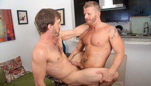 Joe gets manhandled by strong but gentle top guy Jeremy