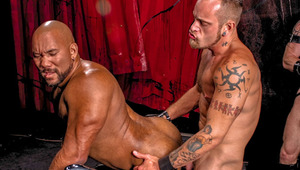 Gloryholes, tit & rod clamps & flogging all in one hot orgy