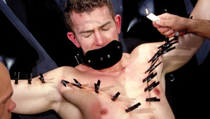 2 males torture a hot lover with candles, clamps and pliers
