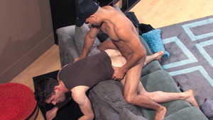 Hairy Hunk rides white boy's tight ass open with enormous rod