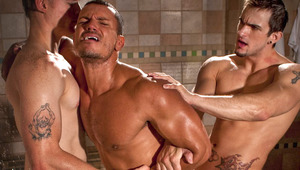 Angelo cries out in pain as his teammates ravage his hole