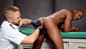 Interrogator Dirk strips Race & probes for a cavity search