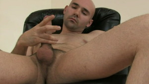 Fantastic bald gay Bucky wanking his big dong on the armchair
