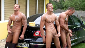 Car wash team work ending in a jerking off session in HD!