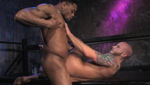 Vega's brown inked skin drives deep into Jaden's pink flesh