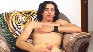 Handsome latino jerking off his rod for the camera and jizz