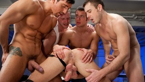 Marc Dylan gets his booty eaten & jizzed over by four lovely men