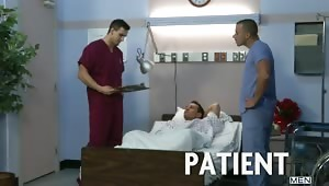 Hospital Patient Dylan Roberts is enjoying some self loving when Phenix Saint and Chris Tyler enter the room to tell him he is going to be released.  The nurses notice his raging boner and decide to help him out, eventually being joined by Trevor Knight a