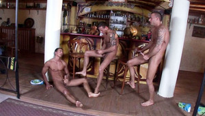 Horny triplets wanking off at night in an empty bar here