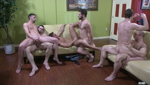 "On MEN.COM 2013 is going out with a bang - a 6 man gang bang called ""The Key Party!""  Jake Steel, John Magnum, Rocco Reed, Spencer Fox, Phenix Saint and Tommy Defendi determine their starting sex partners by putting their keys into a bowl but before long,"