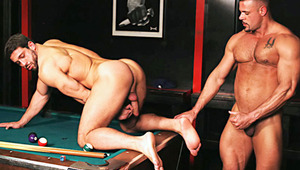 two muscular gay masturbates after gambling on a game of pool
