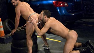 Cavalli pounds the willing hunk until they both shoot loads!