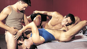The 4 move and gyrate in a vigorous sexual choreography!