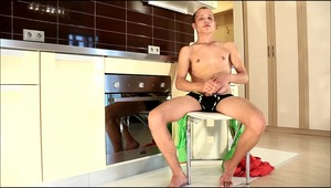Horny fag is stroking his dagger, while parents are out of the house.