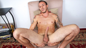 horny muscly lover with tattoos jerks off his great huge schlong