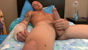 Cliff Jensen pull out his fat hard penis and get himself off.