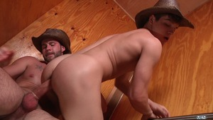Cowboy Johnny Rapid and Chris Bines both look so dang sexy chopping wood that they get WOOD and need to fuck! They end up in the john and Johnny's tight ass gets pounded in several creative positions.