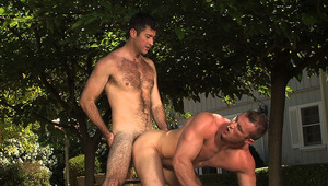 These hot males decide to enjoy the hot sun around the pool.