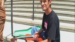 When we saw that Daniel was desperate enough for cash that he was playing violin on the street we knew he would be an easy catch. We negotiated a price for his ass and then taught the teen how to make a living!